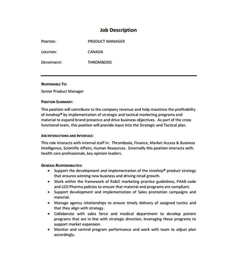 product manager description description template templates data