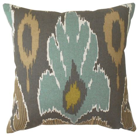 Teal And Brown Decorative Pillows Teal And Brown Ikat Decorative Pillow Cover Contemporary