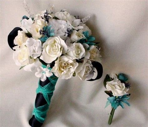 wedding boutonnieres teal wedding flowers silk corsages