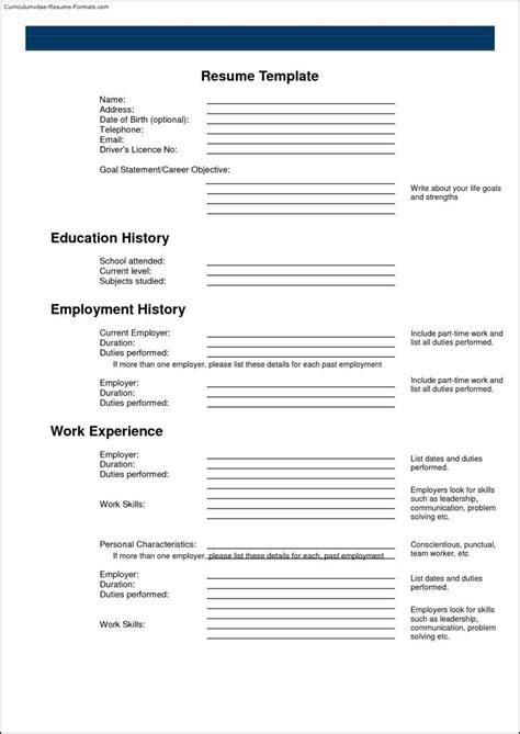 Fillable Resume Templates by Fillable Resume Templates Free Sles Exles