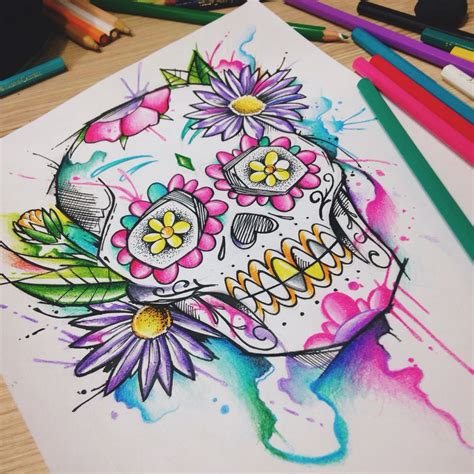 watercolor sugar skull tattoo mexican skull watercolor by felipe bernardes