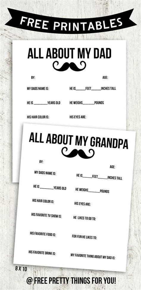 All About My Dad And Grandpa Free Printable Seasonal
