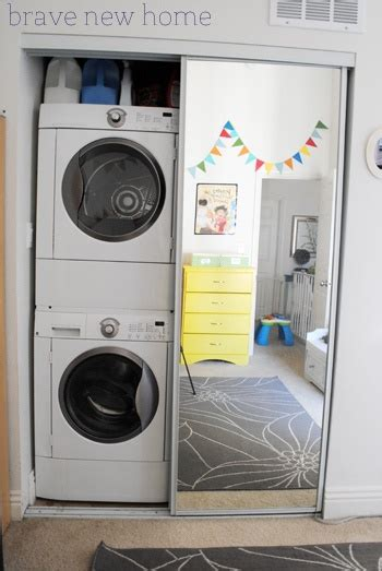 stacked washer and dryer in the closet 504 laundry room