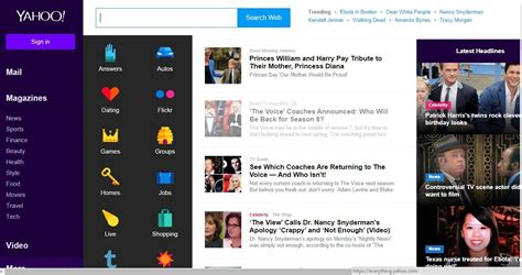 News Section Website Design by Yahoo Rolls Out New Home Page Design Photos