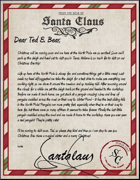 free printable letters from santa ireland official letter from santa sle letter template