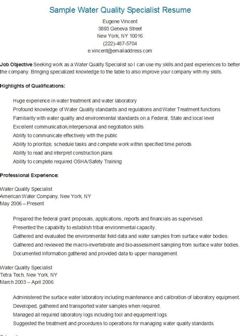 Workforce Management Analyst Cover Letter by Water Treatment Specialist Cover Letter Www Fungram Co