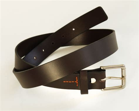 mens handmade brown leather belt basader