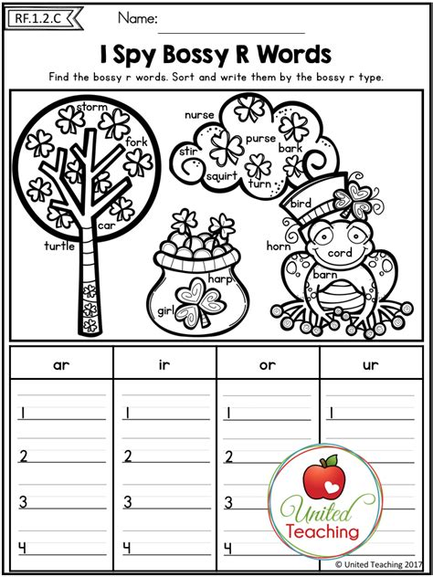 Bossy R Coloring Page by St S Day 1st Grade No Prep Language Arts Worksheets