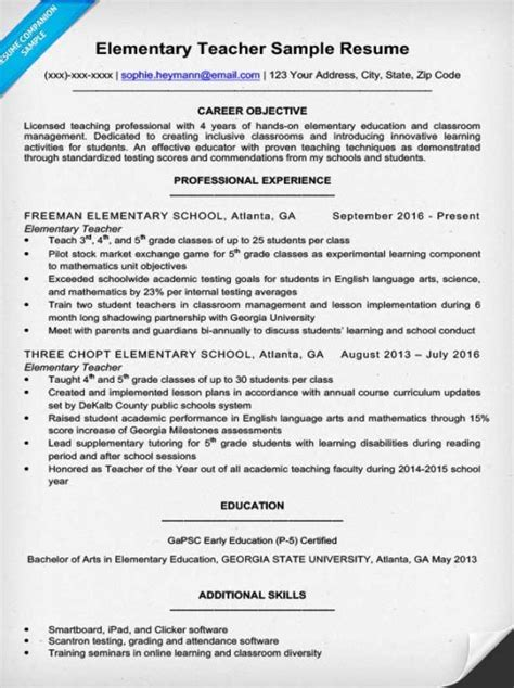 Resume Exles For New Teachers Elementary Resume Sle Writing Tips Resume Companion