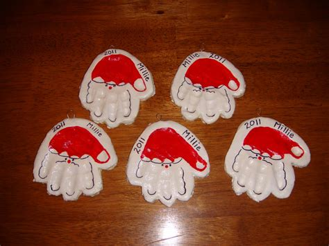 Handmade Santa Ornaments - 2 handprint ornaments nasagreen