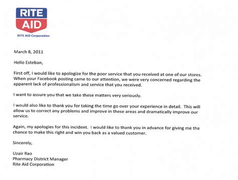 Apology Letter About Bad Service Rite Aid Pharmacy And Store Apology Letter To Esteban