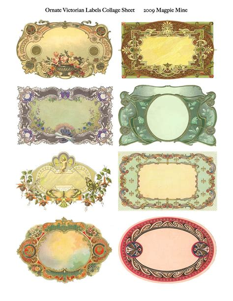printable victorian tags ornate victorian labels collage sheet instant download