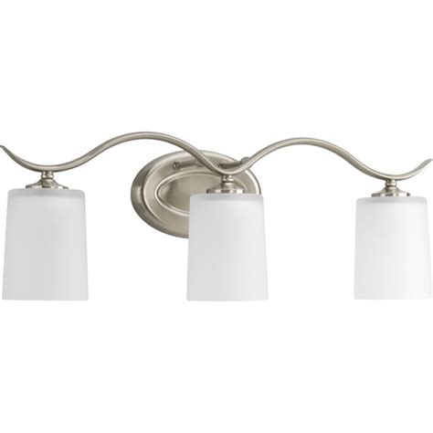 bathroom lighting fixtures home depot progress lighting inspire collection brushed nickel 3