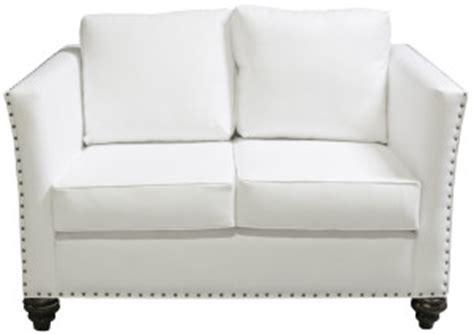 Modern Leather Loveseats Nailhead Loveseat White Leather Designer8