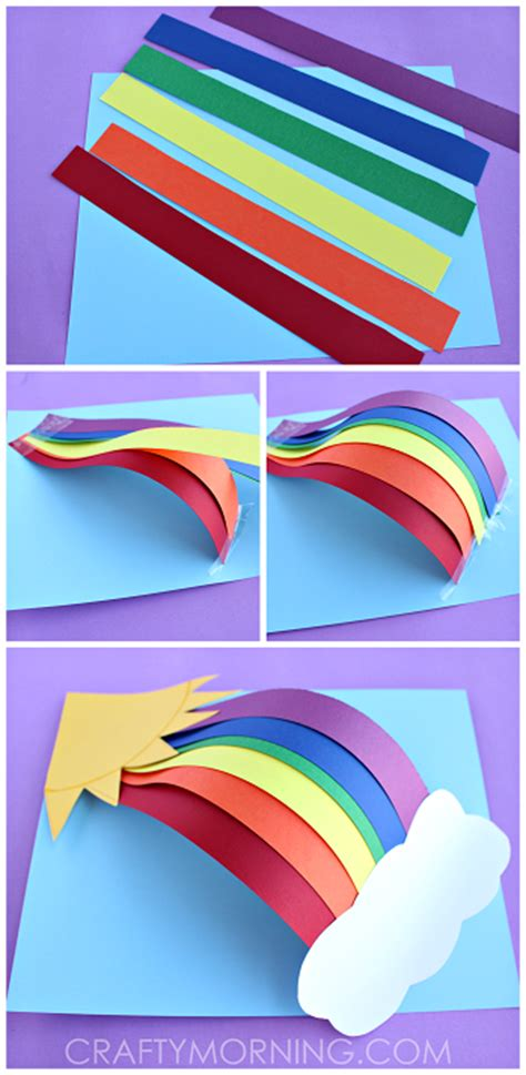3d Paper Crafts For - 3d paper rainbow craft crafty morning