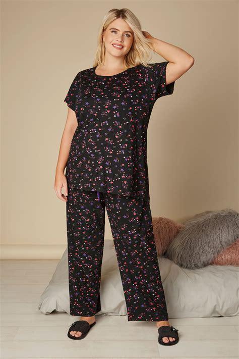 Wasch Und Trockner 1863 by Black Pink Print Pyjama Top Plus Size 16 To 36