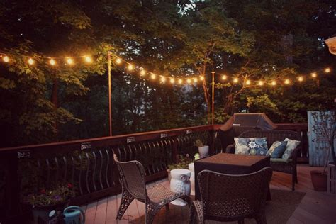 hanging deck lights diy hanging outdoor string lights debbiedoos
