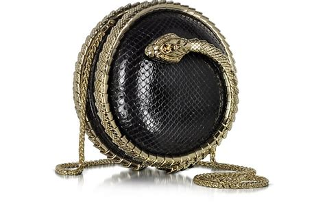 Roberto Cavalli Velvet Snake Wrap Clutch by Roberto Cavalli Serpent Black Python Snake Sphere Clutch