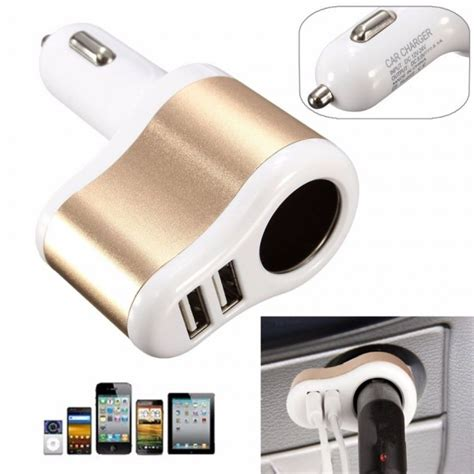 Wellcomm Car Charger Dual Ports Extension Socket 3 1a dual usb ports one way car cigarette lighter socket charger adapter 3 1a
