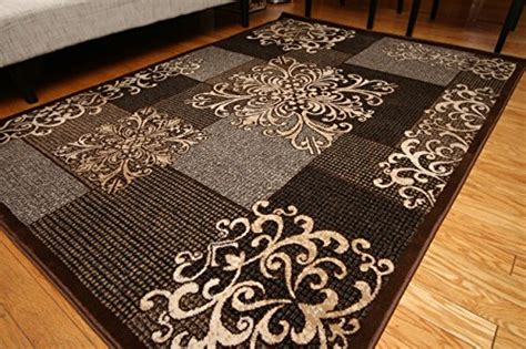 new city rugs new city contemporary modern flowers squares wool area rug 5 2 x 7 3 brown area rugs shop