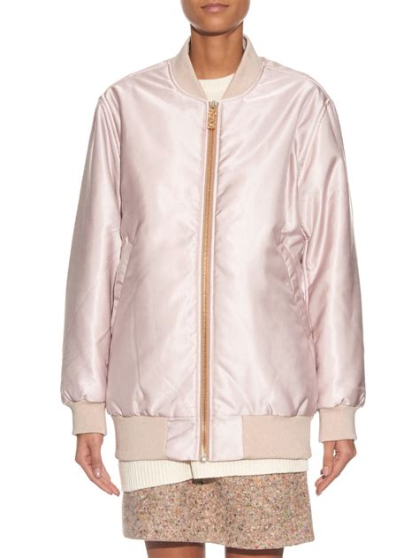 light pink bomber jacket acne selow satin twill bomber jacket in pink light pink