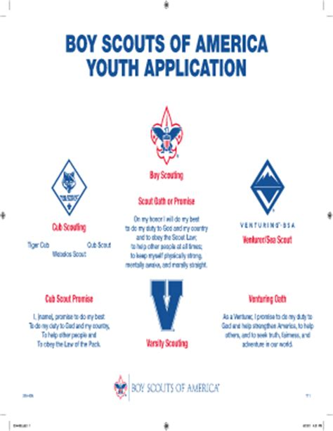 bsa form bsa youth application fillable fill printable