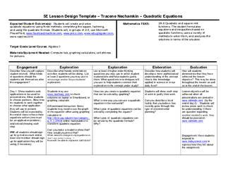 5 E Model Lesson Plan Template by 5e Lesson Plan Quadratic Equation Review By Wylie East