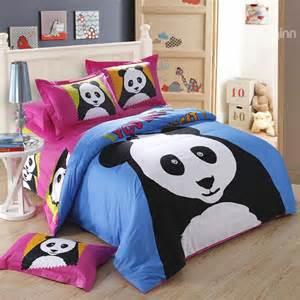 Panda Bed Set Novel Luminous Baby Panda Print 4 Piece Cotton Duvet Cover