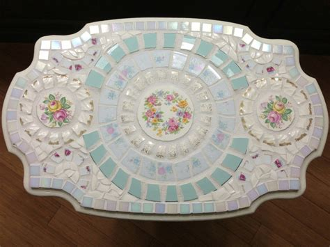 shabby chic vintage china mosaic table mosaic and stained glass