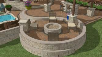 Built In Firepit Pit Area With Built In Pit And Seating Wall And Levels Backyard