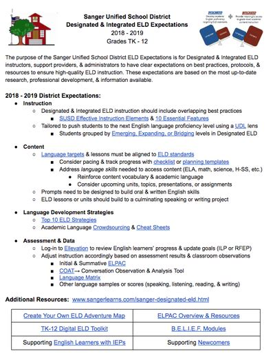 English Learner Instruction Designated Eld Elementary Eld Policy Template