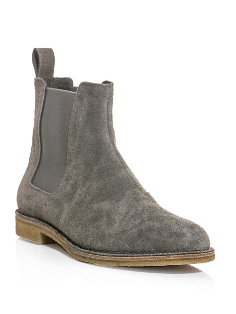 bottega veneta suede chelsea boots in gray for grey