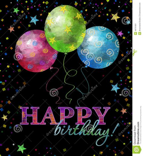 happy birthday greeting card with text drops and in
