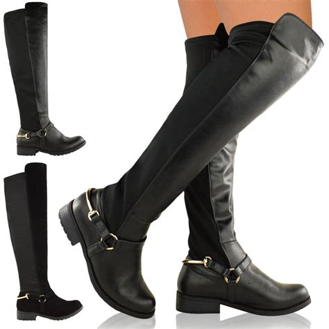thigh high boots flat heel womens the knee thigh high stretch pull on low