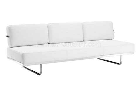 white leather convertible sofa bed charles convertible sofa in white leather by modway