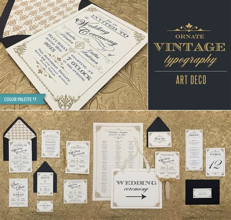 deco wedding invitations templates freebie ornate vintage deco style print