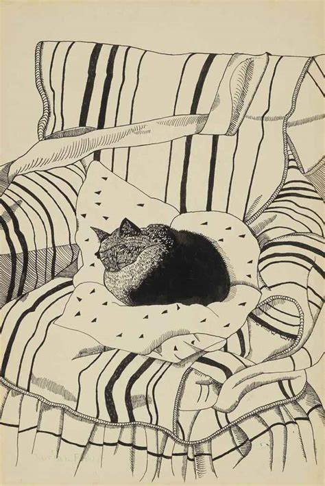 cat on chair drawing lucian freud the cultural cat