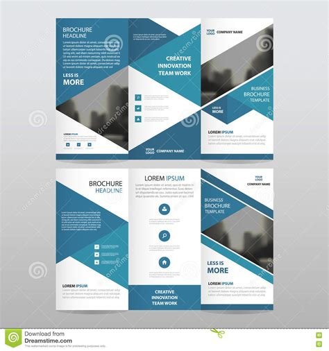 brochure flat design blue triangle business trifold leaflet brochure flyer