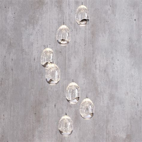Statement Ceiling Lights Bulla Pendant Ceiling 7 Light Led Spiral Cluster Chrome From Litecraft