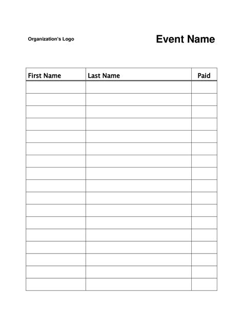 Simple Sign In Sheet Template by Simple Sign In Sheet Template 28 Images Best Photos Of
