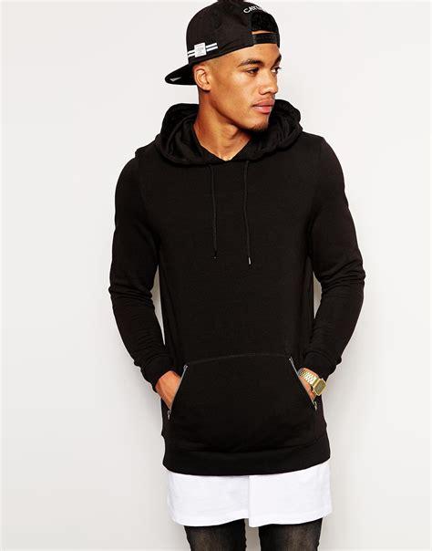 Vest Nike Michael Jaket Hoodie Zipper Sweater Ym01 2 asos longline hoodie with zip pockets in black for lyst
