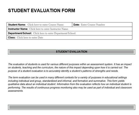 student evaluation forms student evaluation form feedback on student learning