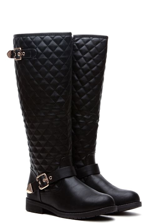 black faux leather knee high quilted buckle up boots