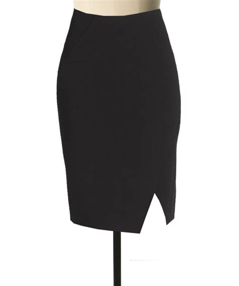 fully line black linen pencil skirt with diagonal cut