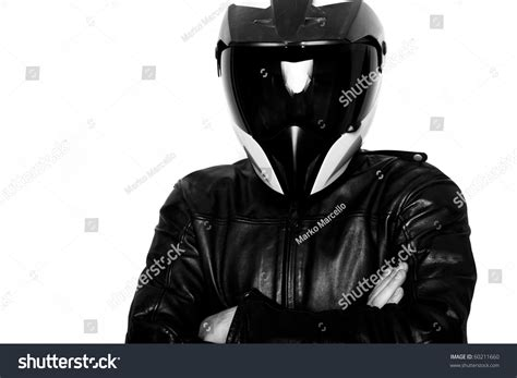 motorcycle helmets and jackets motorcycle rider with helmet and leather jacket stock
