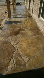 sted and stained concrete patio in flagstone