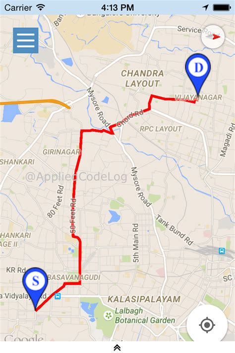 gogle maps and locations xamarin ios draw route between two geo location in