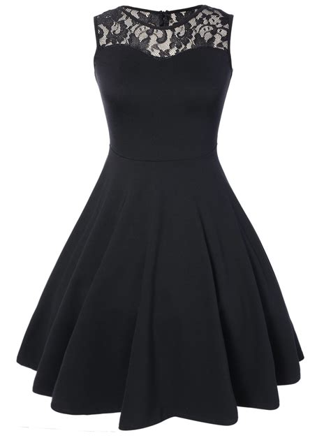 Sleeveless Pleated A Line Dress black dresses black lace pleated sleeveless a line dress