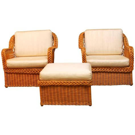Wicker Chair And Ottoman Italian Braided Wicker Rattan Lounge Chairs And Ottoman At 1stdibs