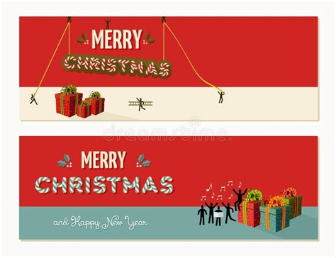 banner design work merry christmas teamwork cooperation stock vector image